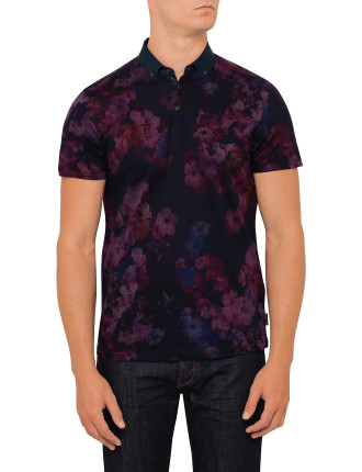 Digital Floral Printed Ss Polo
