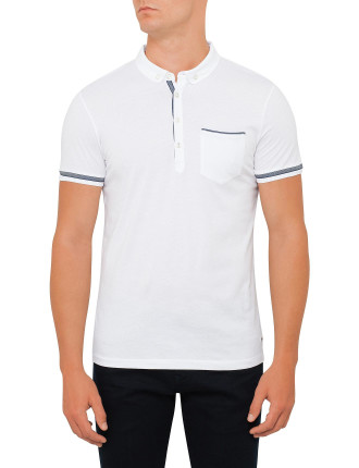 Mercerised Button Down Polo With Tape Detail