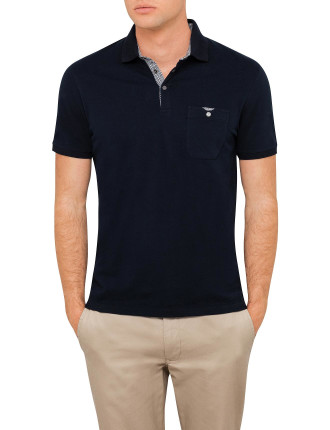 Ss Textured Flatknit Col Polo
