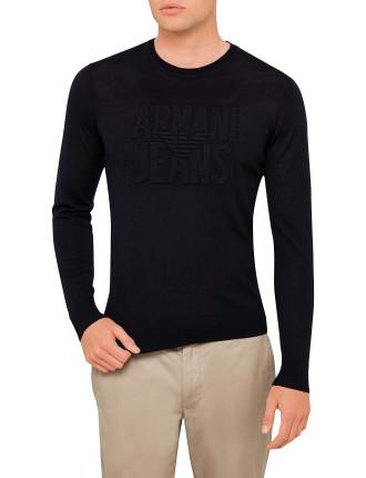 Armani Jeans Logo Crew Slim Fit Knit