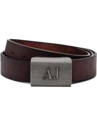 Buckle Front Logo Brown Leather Belt
