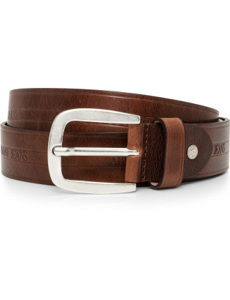 Armani Logo Brown Leather Belt
