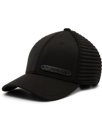 Textured  Small Logo Black Cap