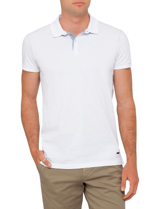 Polo With Woven Placket