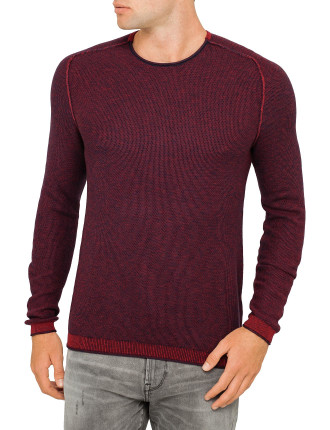Crew Neck Ribbed Knitted Top