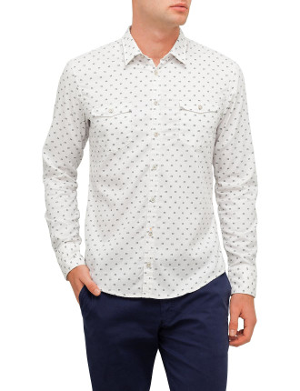 White And Blk Geo Print Shirt