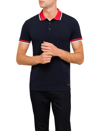 Polo With Contrast Colour Collar And Tipped Sleeves