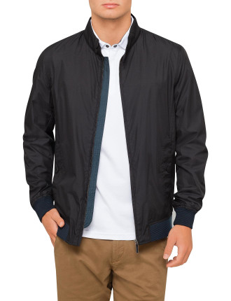 Blk Nylon Harrington Jacket