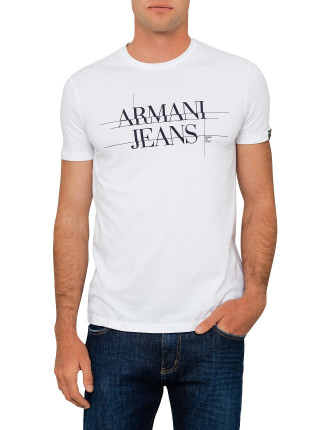 Armani Logo Tee With Back Eagle