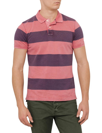 Ocean Washed Block Stripe Polo