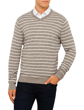 Cotton Wool Extreme Stripe Heather V Neck