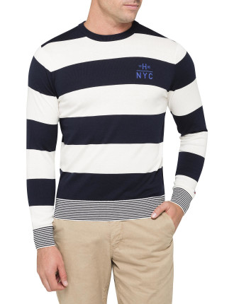 Block Stripe Crew Neck Knitwear