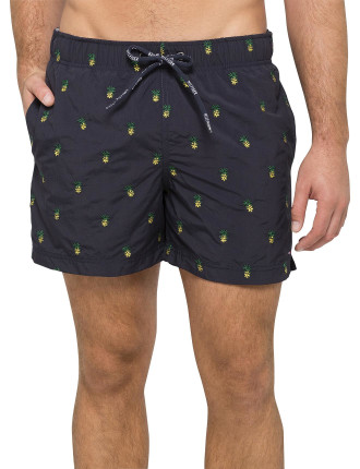 Pineapple Embroidered Swim Short