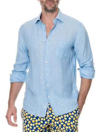 Harris Bay Long Sleeve Sports Fit Shirt Stonewash