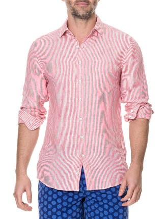 Warwick Junction Long Sleeve Sports Fit Shirt Coral