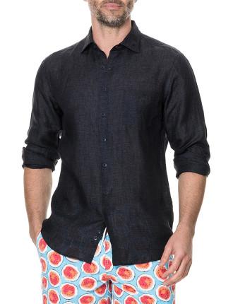 Landsdown Long Sleeve Sports Fit Shirt Charcoal