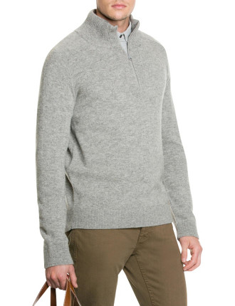 Grey Marle Lambswool Half Zip Knit