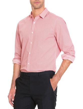 Coral Pink Geometric Print Shirt