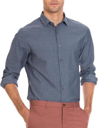 Chambray Blue Short Sleeve Dmnd Prntd Ch
