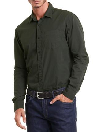 Long Sleeve Regular Overdye Print Shirt