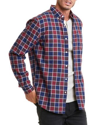 Long Sleeve Regular Borded Gingham Shirt