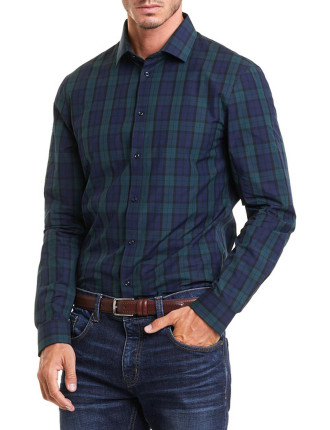 Long Sleeve Slim Blackwatch Check Shirt