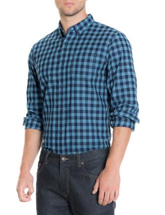 Indigo Twill Gingham Shirt