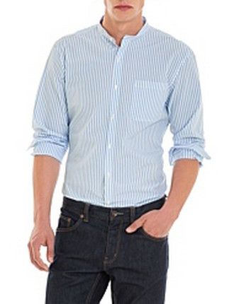 Slim Stripe Collarless Shirt