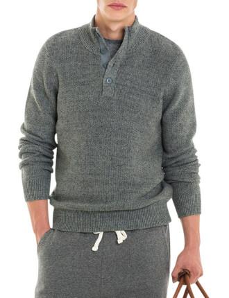 Textured Button Neck Knit