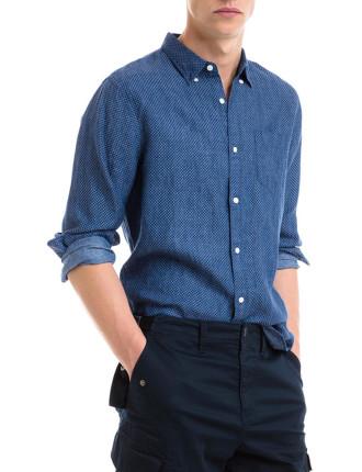 Circle Print Linen Shirt
