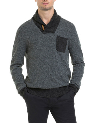 Contrast Shawl Knit