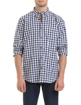 Long Sleeve Simple Gingham Check Shirt