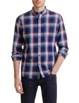 Long Sleeve Indigo Towel Check Shirt