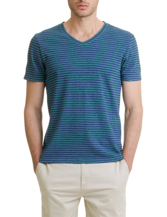 Short Sleeve Stripe V-Neck T-Shirt