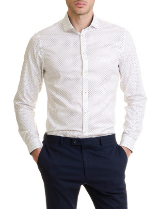Long Sleeve Slim Two Tone Polka Shirt