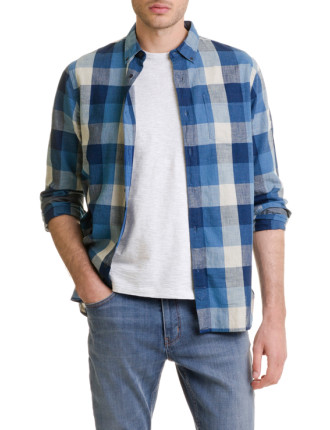 Long Sleeve Indigo Buff Check Shirt