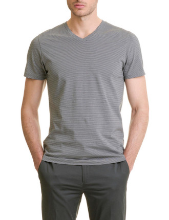 3 Colour Stripe V-Neck