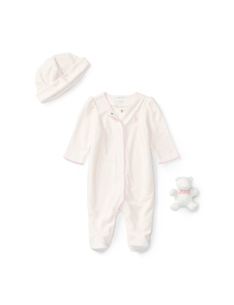 Floral Velour Coverall Set(0-9 months)