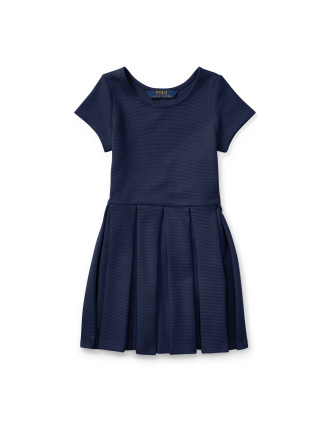 Pleated Ribbed Ponte Dress (2-7 Years)