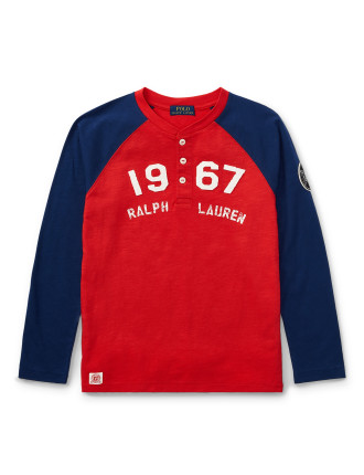 Cotton Jersey Baseball Henley(S-XL)