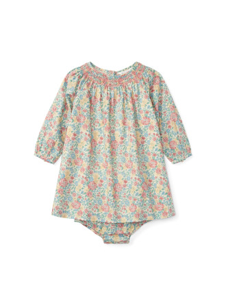 Smocked Floral Cotton Dress(6-24 months)