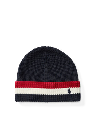 Striped-Brim Ribbed Cotton Hat(ONE SIZE)