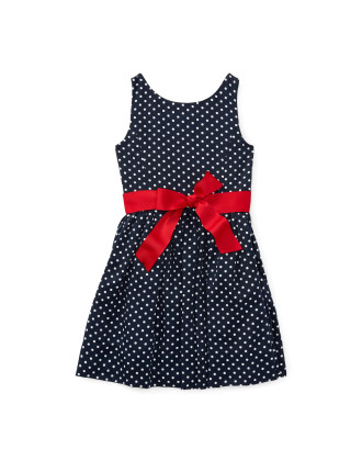 Dotted Twill Button-Back Dress (2-7 years)