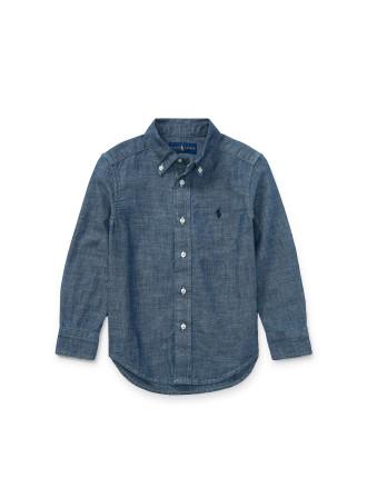 Indigo Cotton Chambray Shirt(2-7 years)