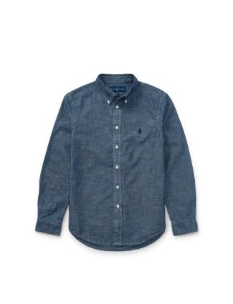 Indigo Cotton Chambray Shirt(S-XL)