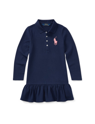 Cotton Long-Sleeve Polo Dress(2-7 years)