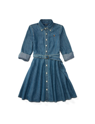 Denim Fit-and-Flare Shirtdress(8-14 years)