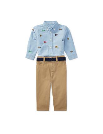 Shirt, Belt & Pant Set(6-24 months)