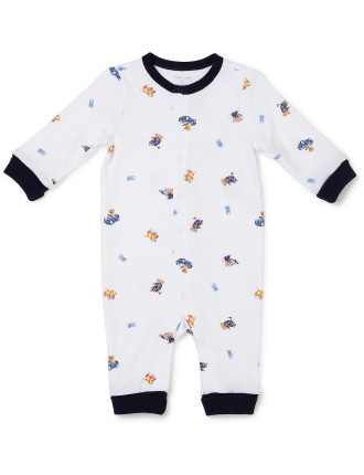 Polo Bear Cotton Coverall (0-24 Months)