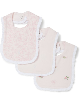 Ruffled Cotton Bib 3-Piece Set